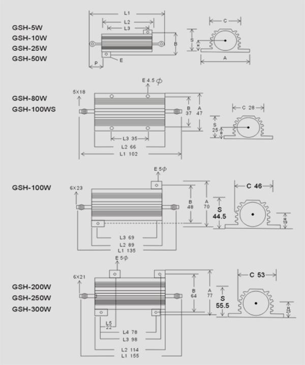 黃金鋁殼電阻規格圖